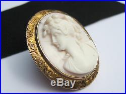Antique Art Nouveau Deco era Coral Carved 10K Gold Cameo Brooch Pin Pendant