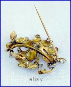 Antique Art Nouveau Enamel, Diamond & Pearl Brooch Pin in Gold & Platinum