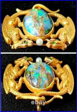 Antique Art Nouveau Opal Griffon Dragon 14k Gold Brooch Watch Pin Estate Jewelry