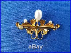 Antique Art Nouveau Pastel Lustrous Enamel 10K Watch Pin/Brooch Pendant WithPearls