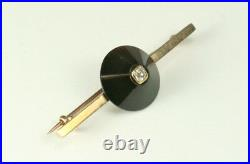 Antique Bar Pin Brooch Old Mine Cut Diamond Black Onyx Yellow Gold WHOLESALE