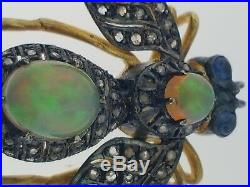 Antique Bee or Fly Brooch or PinFine OpalsSapphires+Rose Diamonds14K+Silver