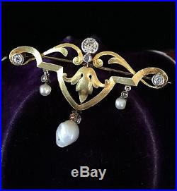 Antique, Belle Epoque 18ct, 18k Gold & Platinum Diamond & Pearl Brooch Pin C1910