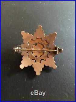Antique Bohemian Garnet Four Tier Star Brooch Pin 9K Gold 1890s Victorian