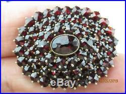 Antique Bohemian Red Cut Garnet 14k Gold Plate sterling silver brooch pin