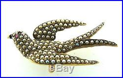 Antique C1900 Victorian 14k Yellow Gold Seed Pearl Bird Brooch Pin Watch Holder
