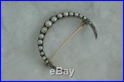 Antique C. 1860 18k & Sterling Brooch Pin Pearls & Diamonds Crescent Moon