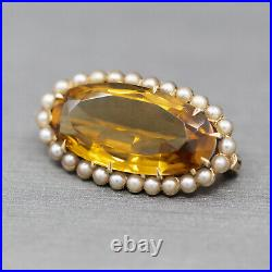 Antique Citrine and Seed Pearl Pin Brooch in 14k Yellow Gold