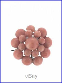 Antique Coral Brooch Pin Gold Plated Victorian Exceptionally beautiful C. 1880