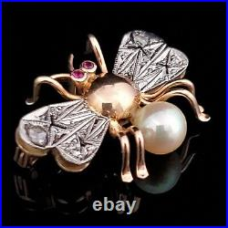 Antique Diamond Pearl Gemstone 18k Yellow White Gold Insect Brooch Pin Bee Gift