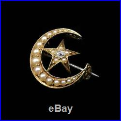 Antique Diamond and Pearl Crescent Moon & Star 15ct Gold Brooch Pin C. 1880