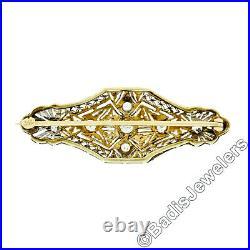 Antique Edwardian 14k Gold 1.00ctw Old European Diamond Filigree Bar Pin Brooch