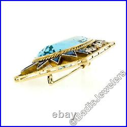 Antique Edwardian 18K Gold Large Oval Triangular Blue Stone & Diamond Brooch Pin
