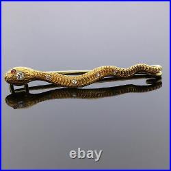 Antique Edwardian 18k Gold European Cut Diamond Snake Pin Brooch Ex Detailing