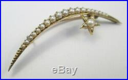 Antique Edwardian 9ct Gold Seed Pearl Moon Crescent Star Brooch Pin circa 1905