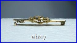 Antique Edwardian 9ct Solid Gold Purple Amethyst Seed Pearl Ladies Brooch Pin