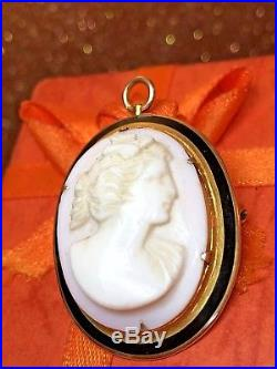 Antique Estate 10k Yellow Gold Carved Cameo Pink Coral Pin Brooch Victorian