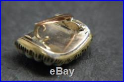 Antique Estate Rare Gold Tiny Lover's/Lovers Eye Miniature Portrait Brooch Pin