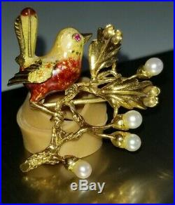 Antique Estate Vintage 18k 18kt Yellow Gold Ruby Pearl Bird Brooch Pin