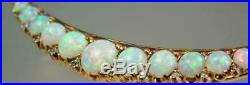 Antique Fire Opal & Diamond Crescent Moon Brooch Pin 4.85Ct 14k Yellow Gold Over