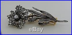 Antique GEORGIAN DIAMOND SILVER GOLD EN TREMBLANT PIN BROOCH HAIR CLIP Amazing