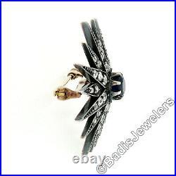 Antique Georgian 14k Gold Silver Sapphire & Mine Diamond Star Burst Brooch Pin