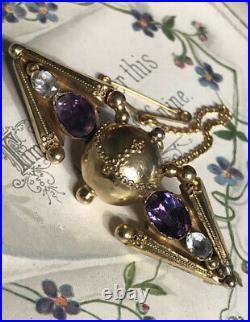 Antique Georgian 15ct Gold Orb Design Brooch/Pin + Amethyst & Aquamarine Stones