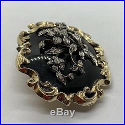Antique Georgian 15k gold rose diamond onyx mourning locket brooch pin flower