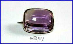 Antique Georgian 9ct Gold Faceted Natural Amethyst Brooch / Pin