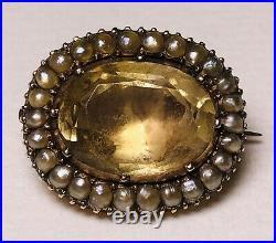 Antique Georgian 9k Gold Seed Pearl Citrine 9ct Pin Brooch