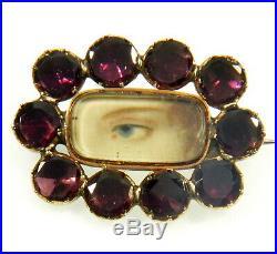 Antique Georgian 9k Rose Gold Garnet Lovers Lovers Eye Brooch Pin