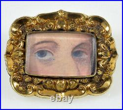 Antique Georgian Gold Cased Lovers Lovers Eye Brooch Pin C. 1820