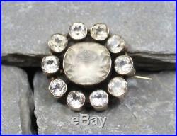 Antique Georgian Gold Diamond Paste Mourning Brooch Pin