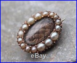Antique Georgian Gold & Pearl Sentimental Lace Pin Brooch