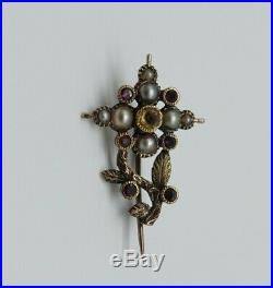 Antique Georgian Halleys Comet 15kt ct Gold Brooch Pin 1835 Garnet Citrine pearl