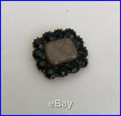Antique Georgian Jewellery 1824 Gold & Jet FAMOUS Mourning Brooch / Pin (AF)
