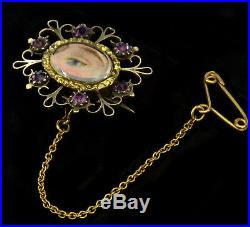 Antique Georgian Lover's Lovers Eye 14k Gold Amethyst Pastes Brooch Pin