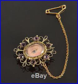 Antique Georgian Lover's Lovers Eye 14k Gold Amethyst Pastes Brooch Pin