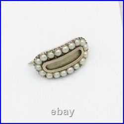 Antique Georgian Mourning 9K Gold Seed Pearl Halo Locket Miniature Brooch Pin