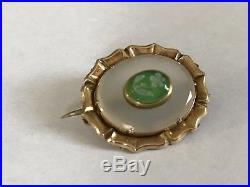 Antique Georgian Victorian 1800s 9 ct gold green hardstone primrose brooch pin