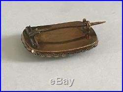 Antique Georgian Victorian 1800s 9 ct gold seed pearl hair lace brooch pin