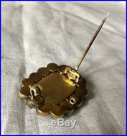 Antique Georgian foiled garnet gold cased brooch pin c1820s