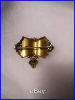 Antique Gold14k Yellow gold & Black Victorian Mourning Brooch/Pin