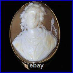 Antique Gold Cameo Portrait Brooch Pendant Thyrsus She Is A Lovely Baccante