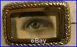 Antique Gold Lovers Eye Brooch Pin