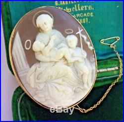 Antique Gold Sardonyx Shell Cameo Madonna & Child With Saint John Brooch Pin