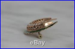 Antique Green Enamel And Aquamarine Crescent Brooch Pin -14k Yellow Gold