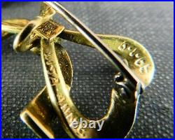 Antique Italian 18K Yellow Gold & Turquoise Enamel Bow Watch Holder Pin Brooch