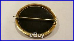 Antique Ladies Floral Micro-mosaic 14k Yellow Gold Brooch Pin