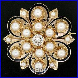 Antique Large 14k Yellow Gold Black Enamel Diamond & Pearl Pendant Brooch Pin